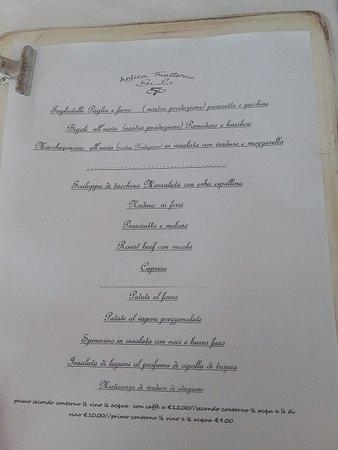 Poggio Renatico, إيطاليا: Menù  pranzo infrasettimanale