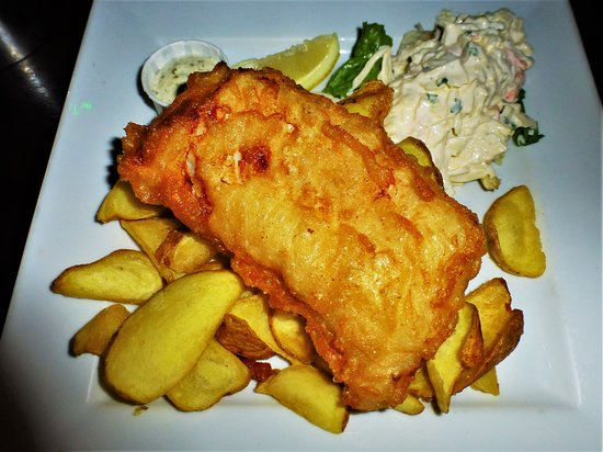 The delicious fish and chips!