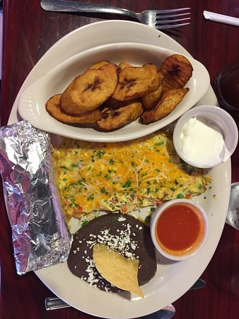 Omelet with plantains, black beans, and corn tortillas