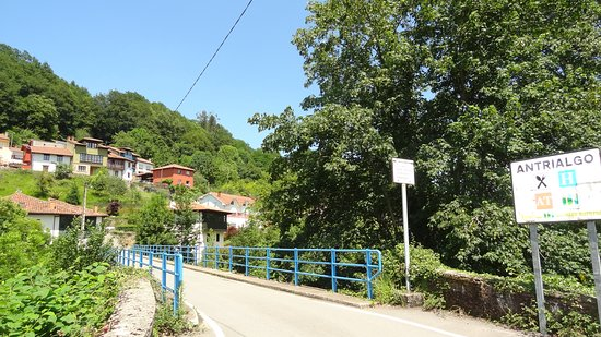 Este es el puente sobre el Piloña por donde se accede a Antrialgo .