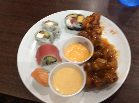 Sushi and sesame chicken