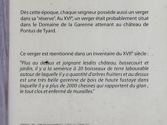 Les explications sur le verger de Pontus de Tyard. C'est une reconstitution d'un verger à l'époque du XVI ém Siècle