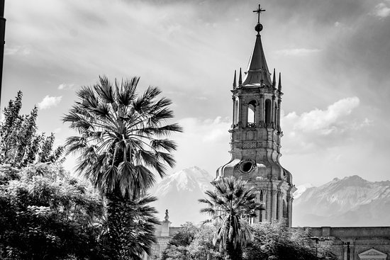 Arequipa, Peru: Distant volcanic peaks form back drop for palms and steeple.