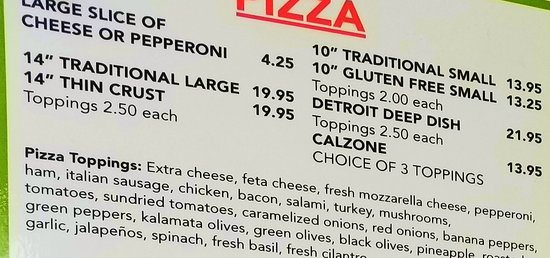 Island Slice Pizzeria: Pizza Prices. Photographed by Melissa J. Peacock on July 3, 2019