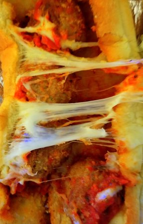 Island Slice Pizzeria: Meatball sub very small size. Photographed by Melissa J. Peacock on July 3, 2019