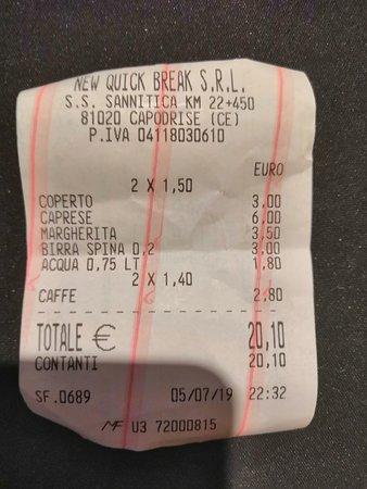 Capodrise, Włochy: Il conto