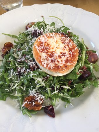 Baked goats cheese on salad