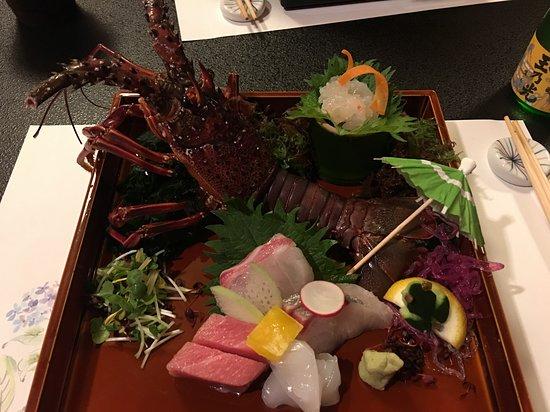 Gion Kyo Cuisine Hanasaki: Lobster sashimi, coz it's rainy season, they've decorated with an umbrella and a little frog, how cute!