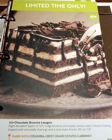 chocolate brownie lasagna menu page