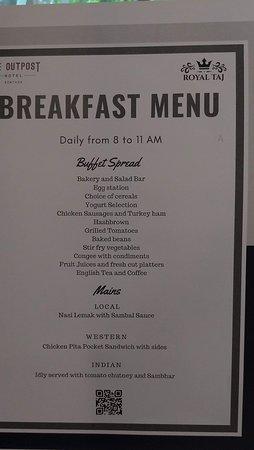朝食の選べるメニュー