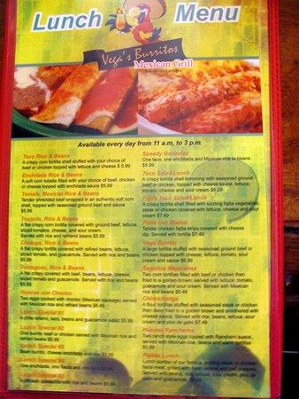 Vega's Burritos: Vega's Mexican Grill Mexico Mo Lunch Menu   by Carl H. =)~