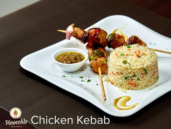 Special Fried Rice and Chicken Kebab