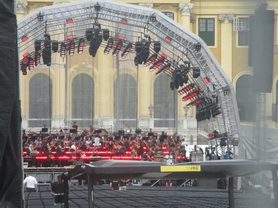 Skip the Line: Schonbrunn Palace Guided Tour in Vienna: The preparation for the POP-ROCK Concert that was set up in front of the main entrance of the Palace ( 3 July 2019) 