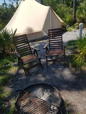 ‪‪Fancy Camps at Topsail Preserve State Park‬: fire pit and nice camp chairs‬
