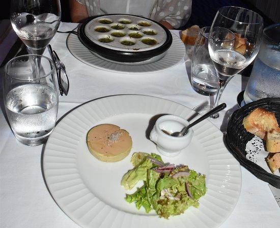 Restaurant Alexandra: Foie Gras (on Menu Gourmand) and the Escargots entree