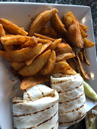 Romeo, MI : Spicy Grouper Wrap with Rocket Fries and Bang Bang Shrimp Tacos