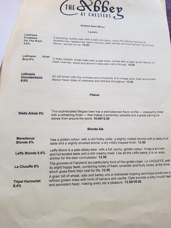 The Abbey: menu