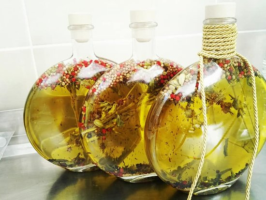 Extra Virgin Olive Oil with Herbs! New options for gifts. Virginia Apostolidou Olive Oil & Olives.