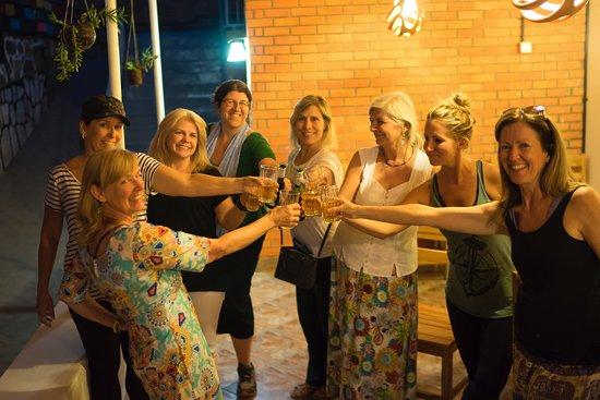 MAMA Rwanda Hostel: after dinner toast to a great adventure