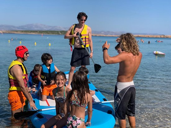 plenty of space on our big SUP, in Sanra Maria Paros