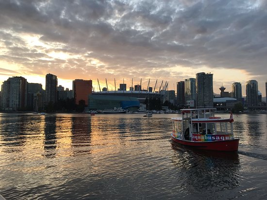 Vancouver AquaBus Ferry Ticket: sunset on summer solstice over BC Place