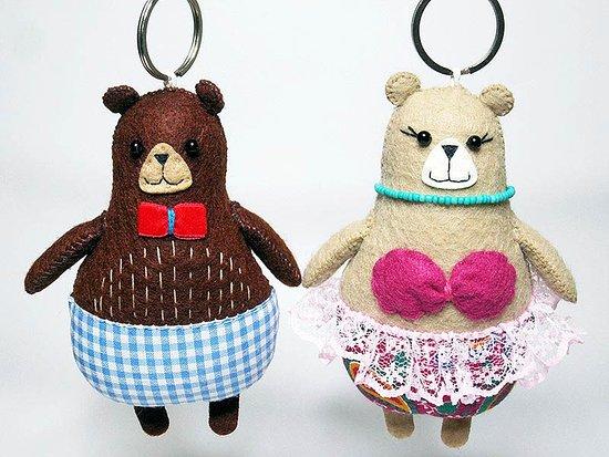 Delightful handmade felt Bears keyrings
