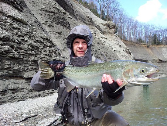 Girard, Pensylwania: A great fish for a great client of Steelhead Alley Outfitters