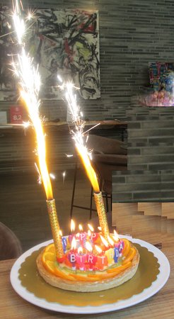 Awesome Complimentary Birthday Cake With Candles Sparklers Provided By Funny Birthday Cards Online Alyptdamsfinfo