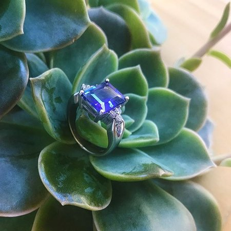 Square cut Tanzanite  and Diamond ring
