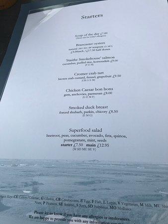The White Horse Brancaster Staithe, menu