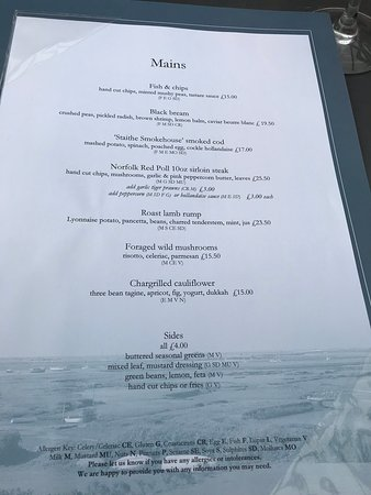 The White Horse Brancaster Staithe Menu Picture Of