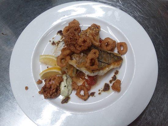 Haddock with Calamari and Tomato Salad