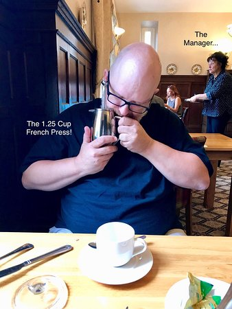 Otterburn Castle Country House Hotel: The hot breakfast & a man worshipping his coffee.