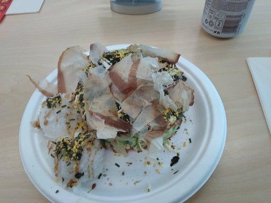 Okoz: Vegetarian okonomiyaka with katsuobushi and rice