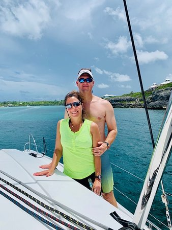 Cruise Abaco: My wife and I enjoying the boat