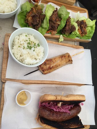 Korean BBQ Beef, Kasu Black Cod, Bratwurst