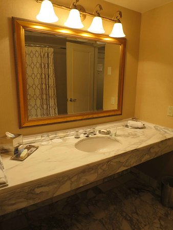 Omni Las Colinas Hotel: Stunning and large marble sink (and this is real marble)