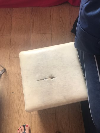 Moraira, Spain: Torn footstool