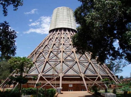 Namugongo Martyrs Shrine  Located in Wakiso district within close proximity to Kampala. The beautiful shrine's exterior is made of 22 copper pillars over 100 feet long. The shrine was built to honor 32 young men who were pages of king Mwanga II of Buganda. On June 3rd, 1886 the men were burnt to death for refusing to renounce Christianity. Each year on the anniversary of their deaths, thousands of Christians from across the world congregate to commemorate their lives