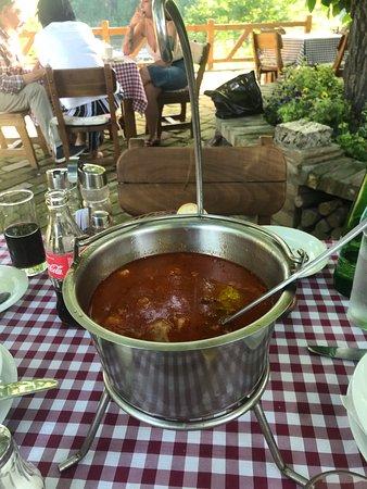 Kovilj, เซอร์เบีย: Fish-stew (Riblja corba) for two - mixed river fish, as per traditional recipe.