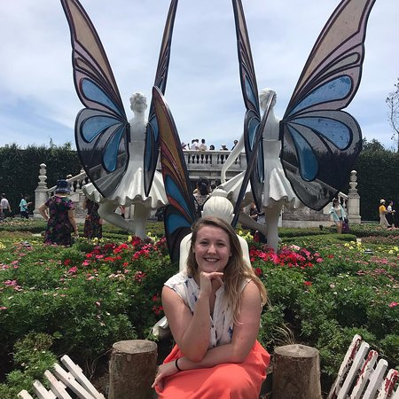 Butterfly, ballerina installation in the centre of the flower gardens on the first tier.