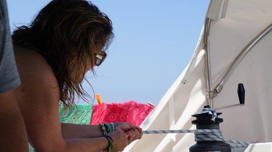 """en el velero """"trabajando"""" :-)"""
