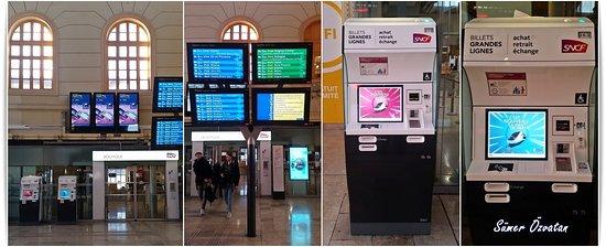 Gare de Marseille Saint-Charles: Gar binasında Fransa'nın devlete ait demir yolu hizmetlerini işleten kurumu olan SNCF (Société nationale des chemins de fer français)'nin satış ve danışma ofisi var. Tren biletlerini; benim gibi seyahatten haftalar önce, uygun fiyatla SNCF'nin internet sitesinden ya da gardaki bilet makinelerinden de alabilirsiniz.