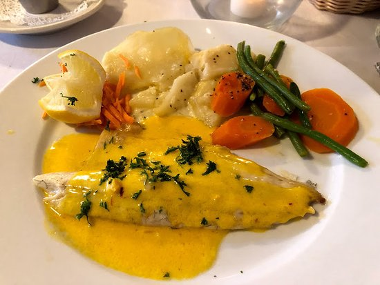La Crepe Michel : Sea Bass with Scalloped potatoes and vegetables