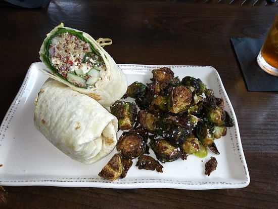 Mediterranean wrap with fried brussel sprouts