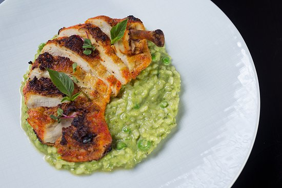Airline Chicken over Asparagus Risotto