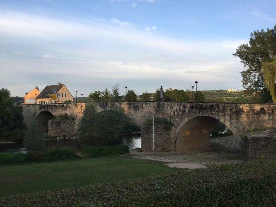 Bridge to Echternacherbrucke; Statue of Johannes Bertels