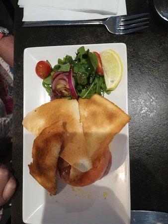 La Casa Italian: MOUSSE DI SALMONE AFFUMICATO Smoked salmon mousse, melba toast, orange vinaigrette, green leaves.