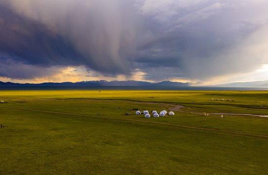 Song-Kul valley. Yurt camp  for tourists. Kyrgyzstan