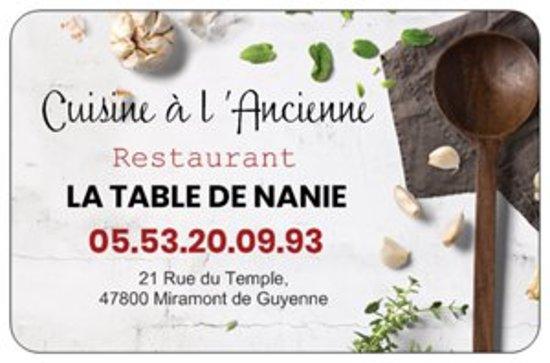 La Table De Nanie: ma  carte de visite